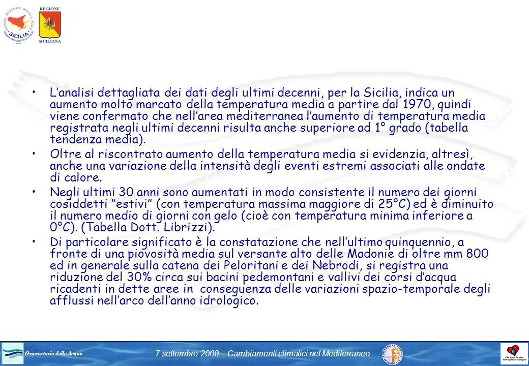Osservatorio delle Acque 7 settembre 2008 – Cambiamenti climatici nel Mediterraneo Lanalisi dettagliata dei dati degli ultimi decenni, per la Sicilia,