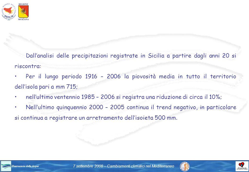 Osservatorio delle Acque 7 settembre 2008 – Cambiamenti climatici nel Mediterraneo Dallanalisi delle precipitazioni registrate in Sicilia a partire da
