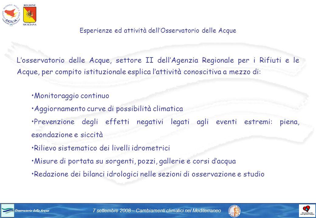 Osservatorio delle Acque 7 settembre 2008 – Cambiamenti climatici nel Mediterraneo Losservatorio delle Acque, settore II dellAgenzia Regionale per i R