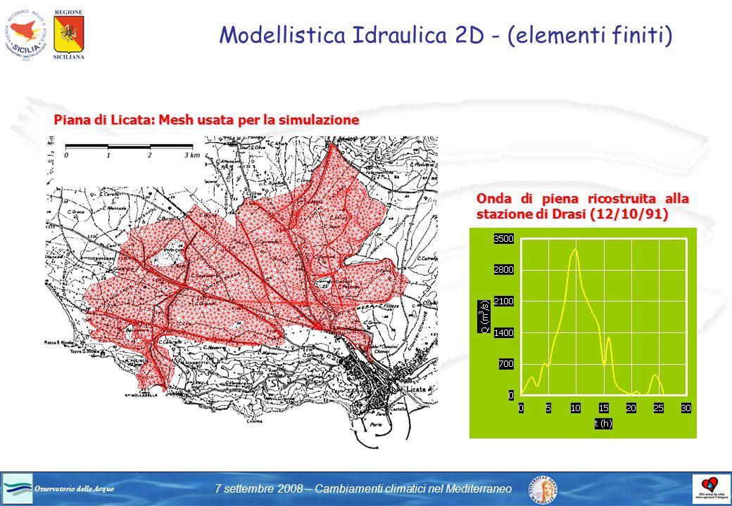 Osservatorio delle Acque 7 settembre 2008 – Cambiamenti climatici nel Mediterraneo Modellistica Idraulica 2D - (elementi finiti) Onda di piena ricostr