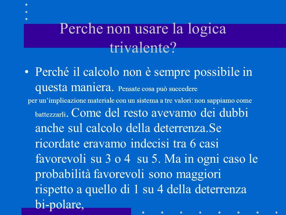 Perche non usare la logica trivalente? Perché il calcolo non è sempre possibile in questa maniera. Pensate cosa può succedere per unimplicazione mater