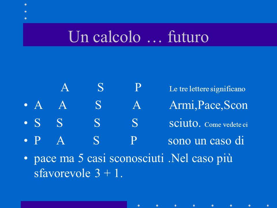 Un calcolo … futuro A S P Le tre lettere significano A A S A Armi,Pace,Scon S S S S sciuto. Come vedete ci P A S P sono un caso di pace ma 5 casi scon