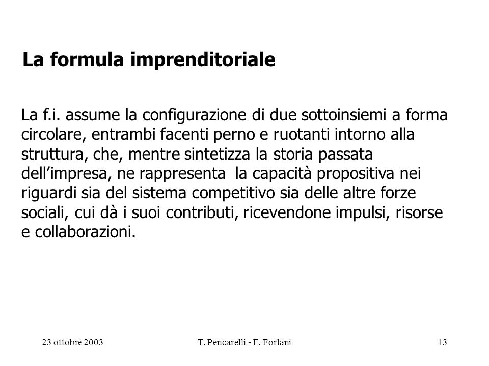 23 ottobre 2003T. Pencarelli - F. Forlani13 La f.i. assume la configurazione di due sottoinsiemi a forma circolare, entrambi facenti perno e ruotanti
