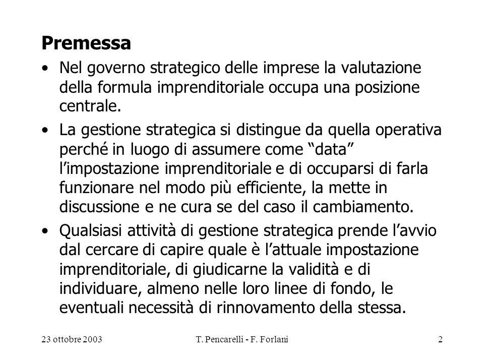 23 ottobre 2003T. Pencarelli - F. Forlani2 Premessa Nel governo strategico delle imprese la valutazione della formula imprenditoriale occupa una posiz