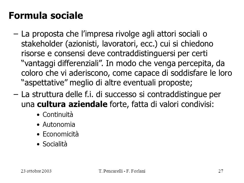 23 ottobre 2003T. Pencarelli - F. Forlani27 Formula sociale –La proposta che limpresa rivolge agli attori sociali o stakeholder (azionisti, lavoratori