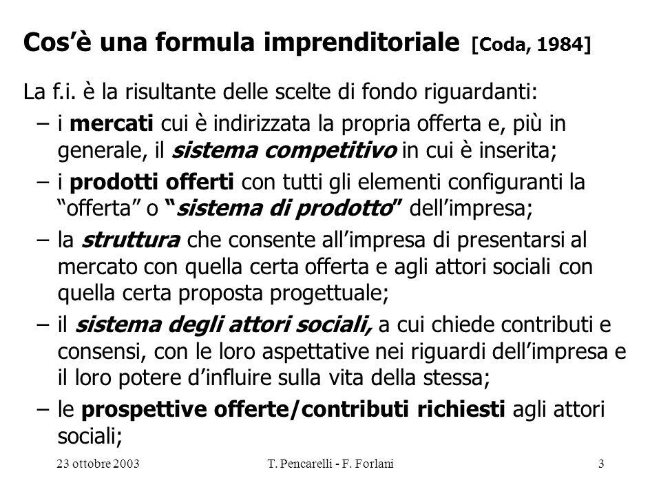 23 ottobre 2003T. Pencarelli - F. Forlani3 Cosè una formula imprenditoriale [Coda, 1984] La f.i. è la risultante delle scelte di fondo riguardanti: –i