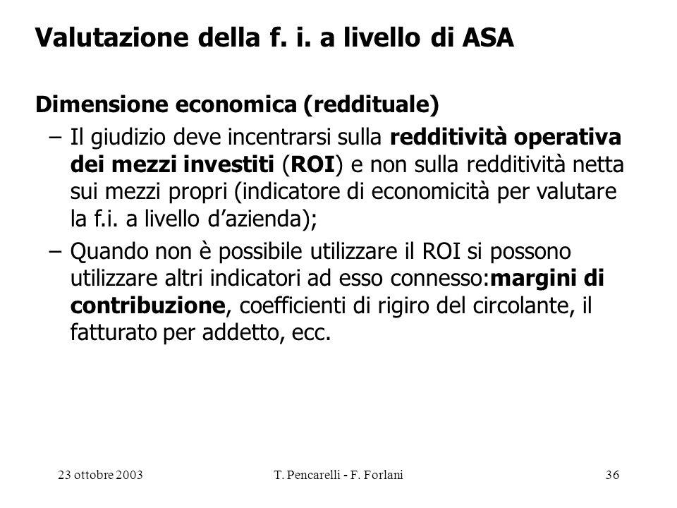 23 ottobre 2003T. Pencarelli - F. Forlani36 Valutazione della f. i. a livello di ASA Dimensione economica (reddituale) –Il giudizio deve incentrarsi s