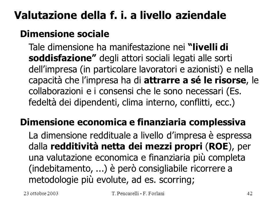 23 ottobre 2003T. Pencarelli - F. Forlani42 Valutazione della f. i. a livello aziendale Dimensione sociale Tale dimensione ha manifestazione nei livel