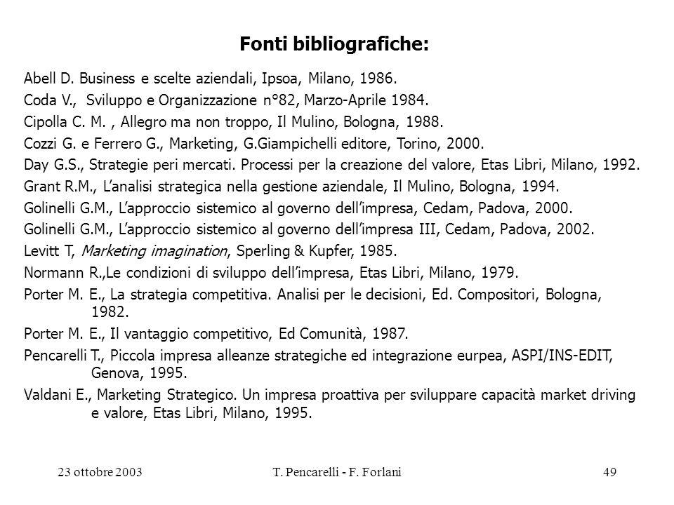 23 ottobre 2003T. Pencarelli - F. Forlani49 Fonti bibliografiche: Abell D. Business e scelte aziendali, Ipsoa, Milano, 1986. Coda V., Sviluppo e Organ