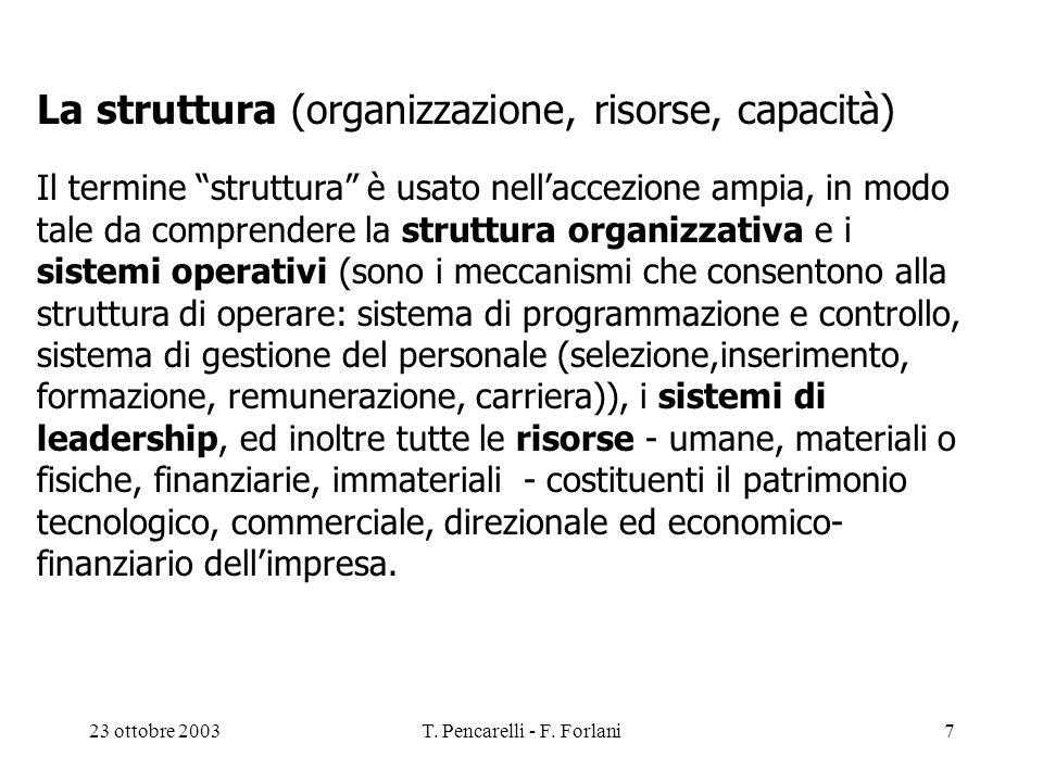 23 ottobre 2003T. Pencarelli - F. Forlani7 La struttura (organizzazione, risorse, capacità) Il termine struttura è usato nellaccezione ampia, in modo