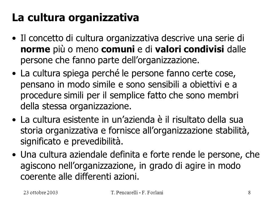 23 ottobre 2003T. Pencarelli - F. Forlani8 La cultura organizzativa Il concetto di cultura organizzativa descrive una serie di norme più o meno comuni