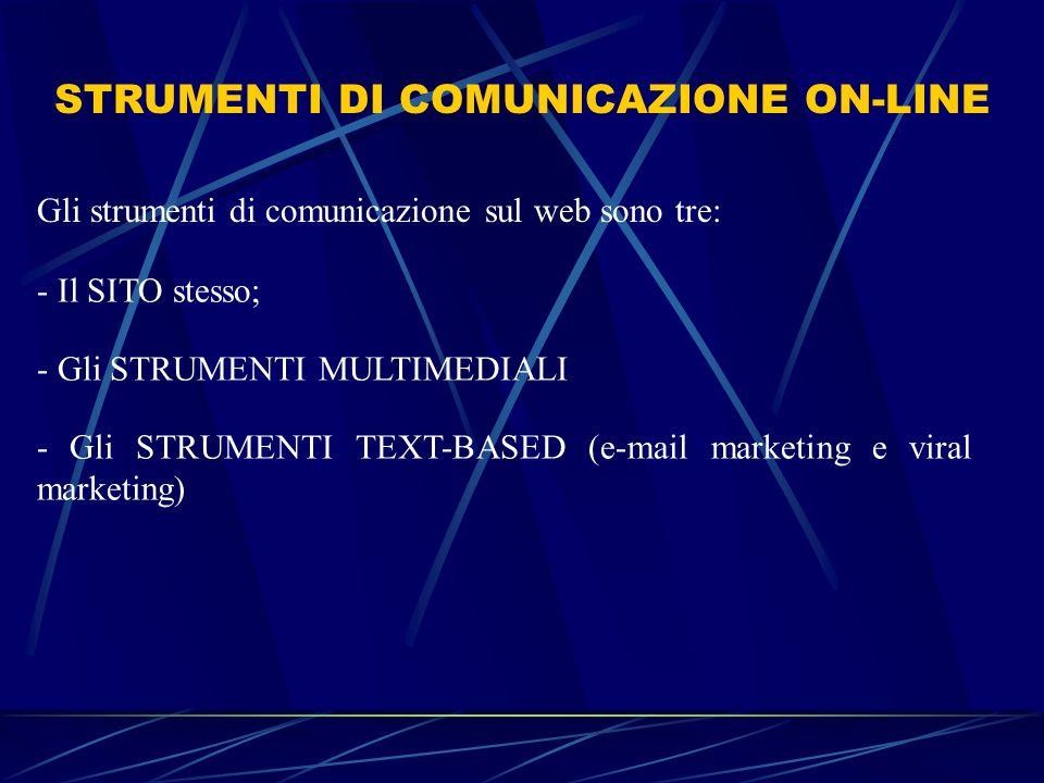 STRUMENTI DI COMUNICAZIONE ON-LINE Gli strumenti di comunicazione sul web sono tre: - Il SITO stesso; - Gli STRUMENTI MULTIMEDIALI - Gli STRUMENTI TEX