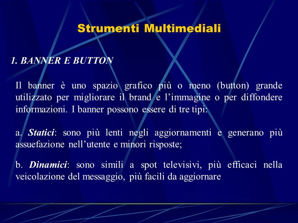 Strumenti Multimediali 1. BANNER E BUTTON Il banner è uno spazio grafico più o meno (button) grande utilizzato per migliorare il brand e limmagine o p