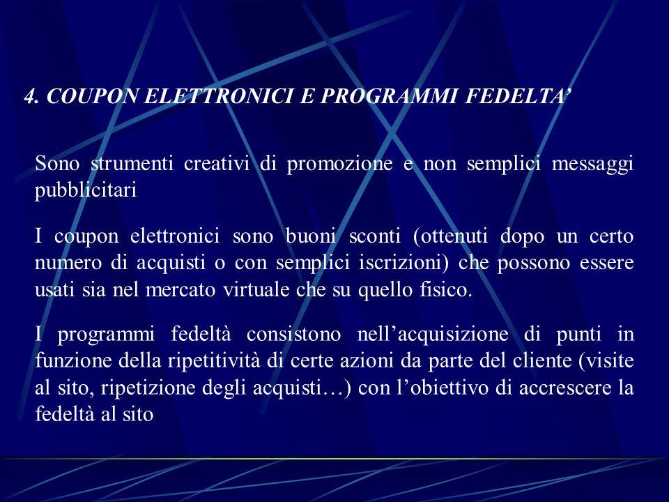 4. COUPON ELETTRONICI E PROGRAMMI FEDELTA Sono strumenti creativi di promozione e non semplici messaggi pubblicitari I coupon elettronici sono buoni s
