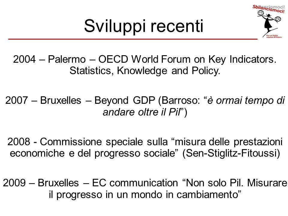 Sviluppi recenti 2004 – Palermo – OECD World Forum on Key Indicators. Statistics, Knowledge and Policy. 2007 – Bruxelles – Beyond GDP (Barroso: è orma