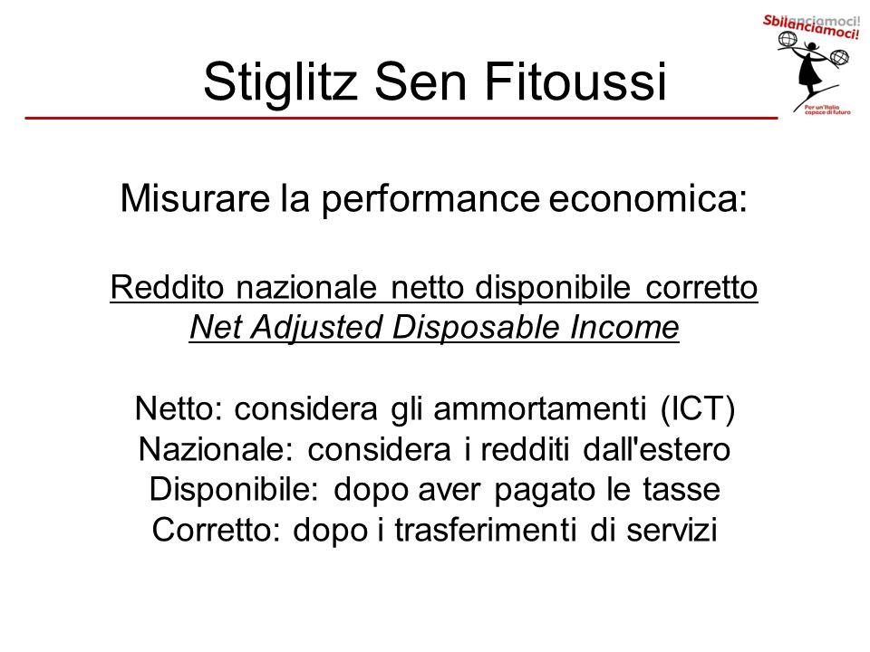 Stiglitz Sen Fitoussi Misurare la performance economica: Reddito nazionale netto disponibile corretto Net Adjusted Disposable Income Netto: considera