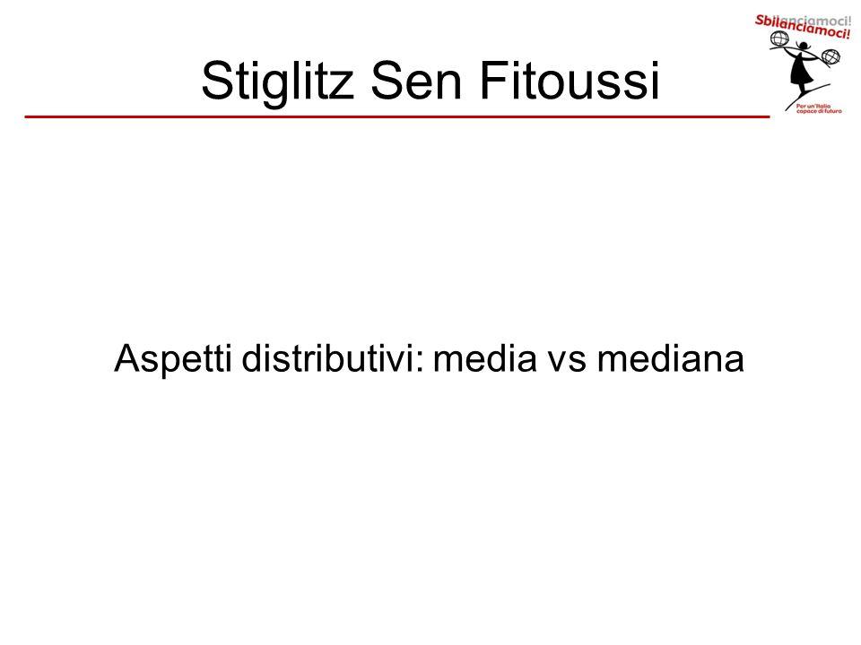 Aspetti distributivi: media vs mediana Stiglitz Sen Fitoussi