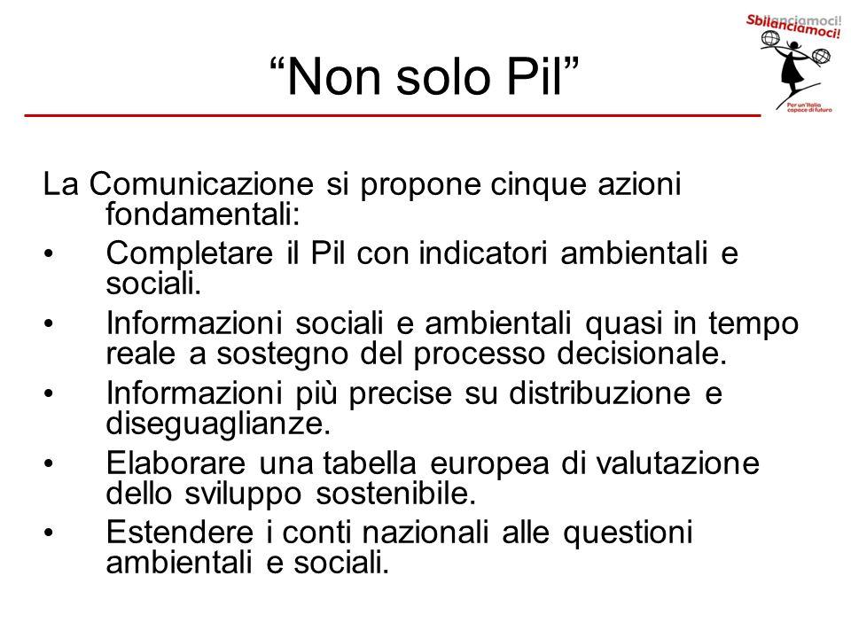 La Comunicazione si propone cinque azioni fondamentali: Completare il Pil con indicatori ambientali e sociali. Informazioni sociali e ambientali quasi