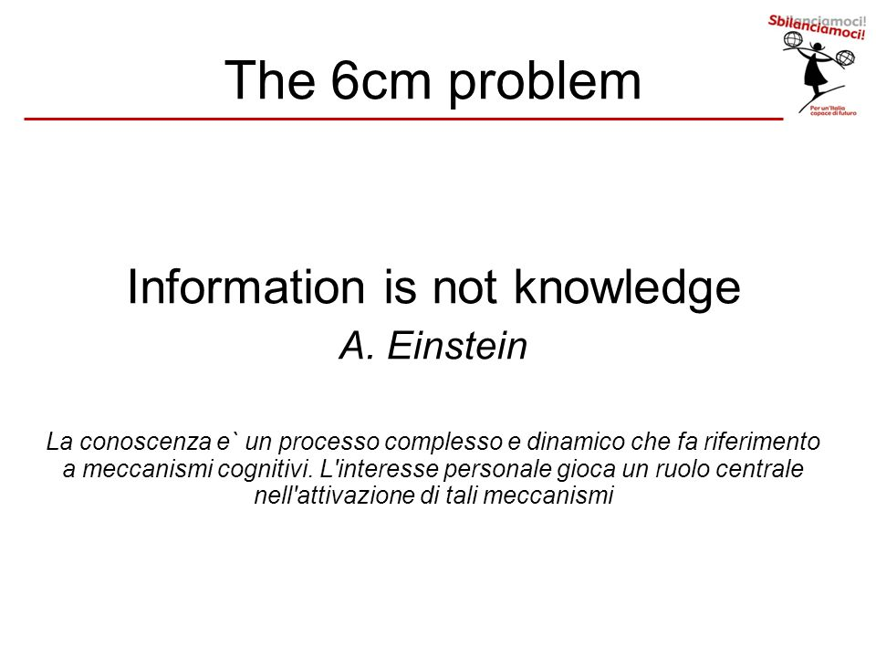 The 6cm problem Information is not knowledge A.