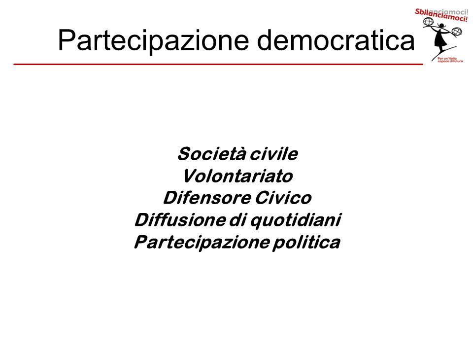 Partecipazione democratica Società civile Volontariato Difensore Civico Diffusione di quotidiani Partecipazione politica