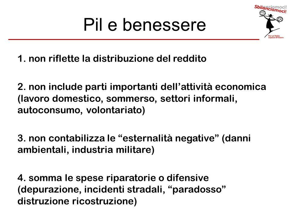 Pil e benessere 1. non riflette la distribuzione del reddito 2. non include parti importanti dellattività economica (lavoro domestico, sommerso, setto