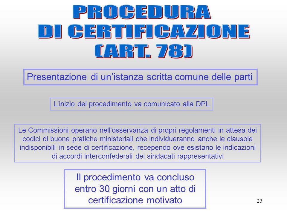 23 Presentazione di unistanza scritta comune delle parti Linizio del procedimento va comunicato alla DPL Il procedimento va concluso entro 30 giorni c