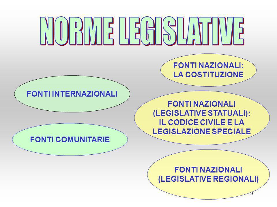 3 FONTI INTERNAZIONALI FONTI COMUNITARIE FONTI NAZIONALI: LA COSTITUZIONE FONTI NAZIONALI (LEGISLATIVE STATUALI): IL CODICE CIVILE E LA LEGISLAZIONE S