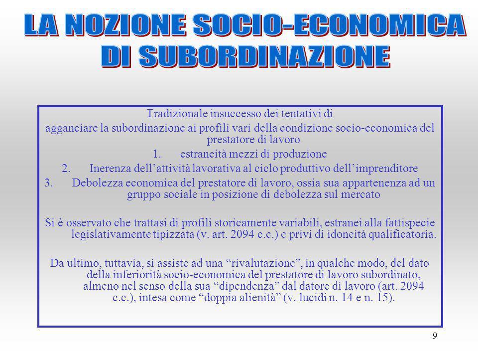 9 Tradizionale insuccesso dei tentativi di agganciare la subordinazione ai profili vari della condizione socio-economica del prestatore di lavoro 1.es