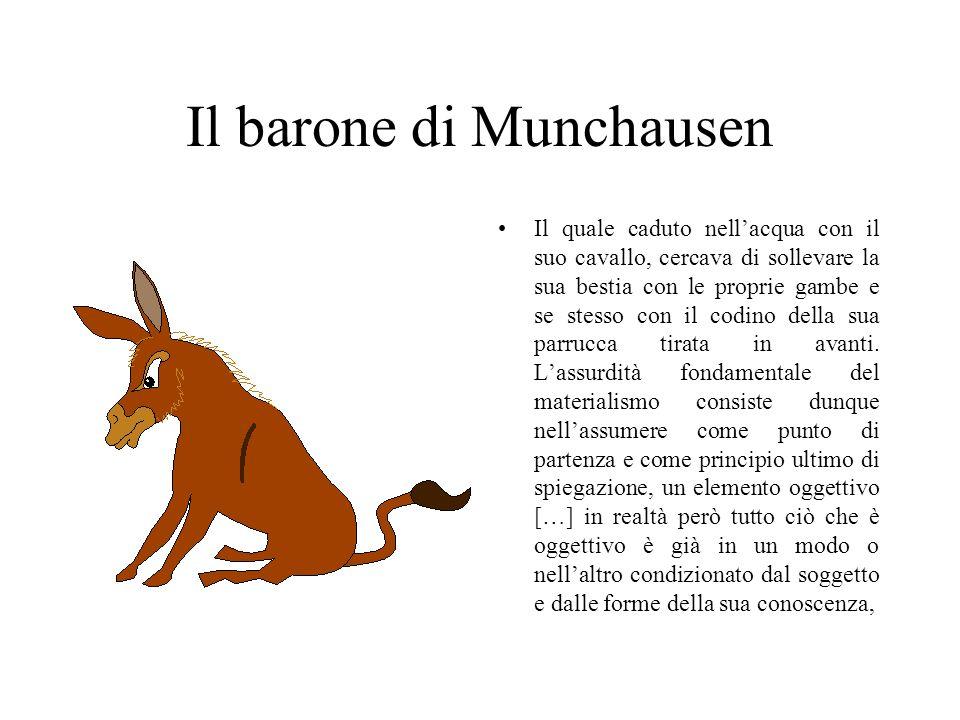Il barone di Munchausen Il quale caduto nellacqua con il suo cavallo, cercava di sollevare la sua bestia con le proprie gambe e se stesso con il codino della sua parrucca tirata in avanti.