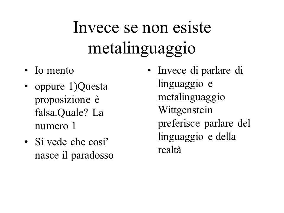 Invece se non esiste metalinguaggio Io mento oppure 1)Questa proposizione è falsa.Quale? La numero 1 Si vede che cosi nasce il paradosso Invece di par