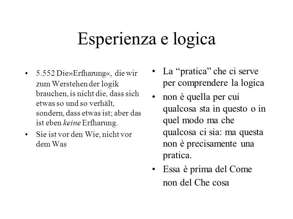 Esperienza e logica 5.552 Die»Erfharung«, die wir zum Werstehen der logik brauchen, is nicht die, dass sich etwas so und so verhält, sondern, dass etwas ist; aber das ist eben keine Erfharung.