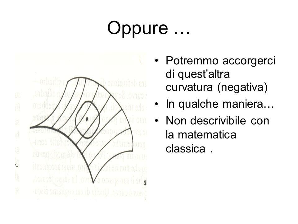 Oppure … Potremmo accorgerci di questaltra curvatura (negativa) In qualche maniera… Non descrivibile con la matematica classica.