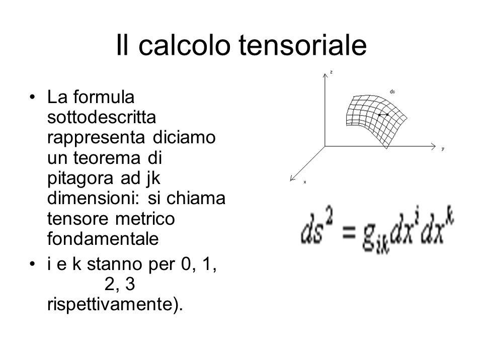 Il calcolo tensoriale La formula sottodescritta rappresenta diciamo un teorema di pitagora ad jk dimensioni: si chiama tensore metrico fondamentale i e k stanno per 0, 1, 2, 3 rispettivamente).