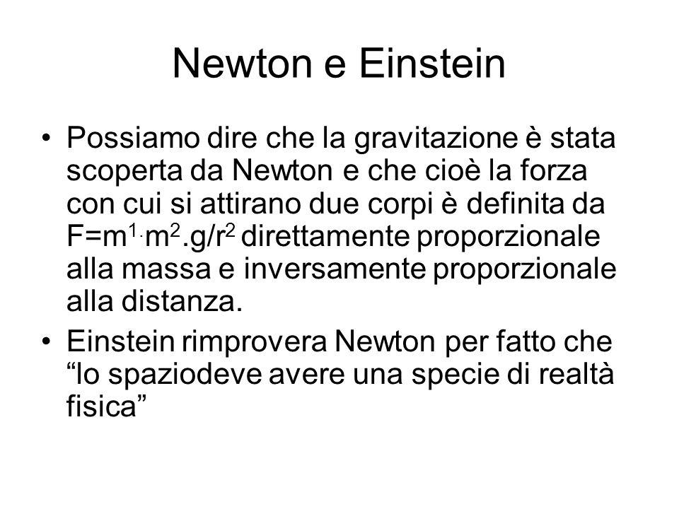 Newton e Einstein Possiamo dire che la gravitazione è stata scoperta da Newton e che cioè la forza con cui si attirano due corpi è definita da F=m 1.
