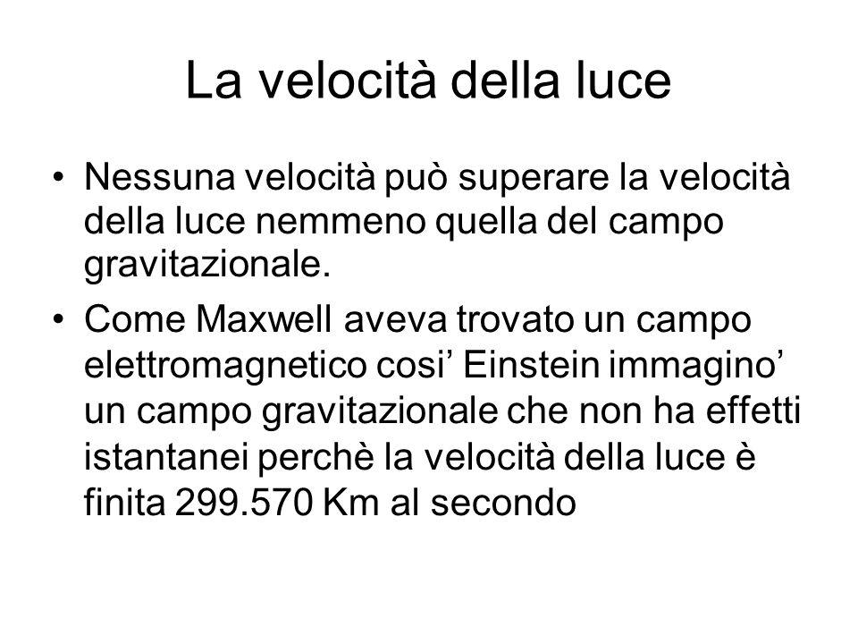 La velocità della luce Nessuna velocità può superare la velocità della luce nemmeno quella del campo gravitazionale.