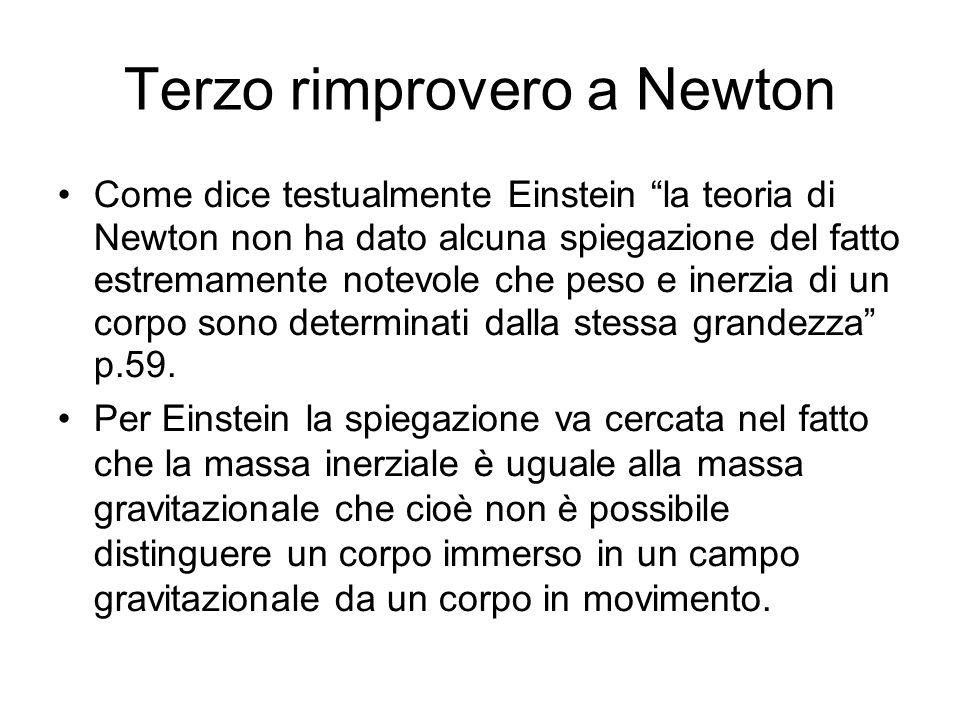 Terzo rimprovero a Newton Come dice testualmente Einstein la teoria di Newton non ha dato alcuna spiegazione del fatto estremamente notevole che peso e inerzia di un corpo sono determinati dalla stessa grandezza p.59.