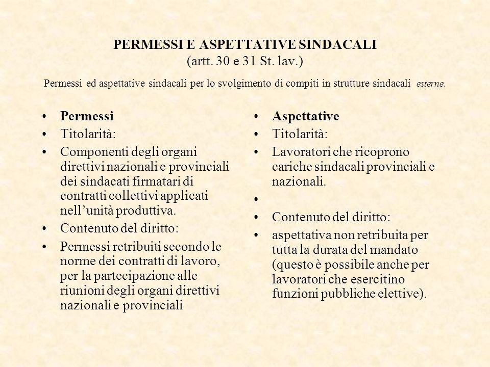 PERMESSI E ASPETTATIVE SINDACALI (artt. 30 e 31 St. lav.) Permessi ed aspettative sindacali per lo svolgimento di compiti in strutture sindacali ester