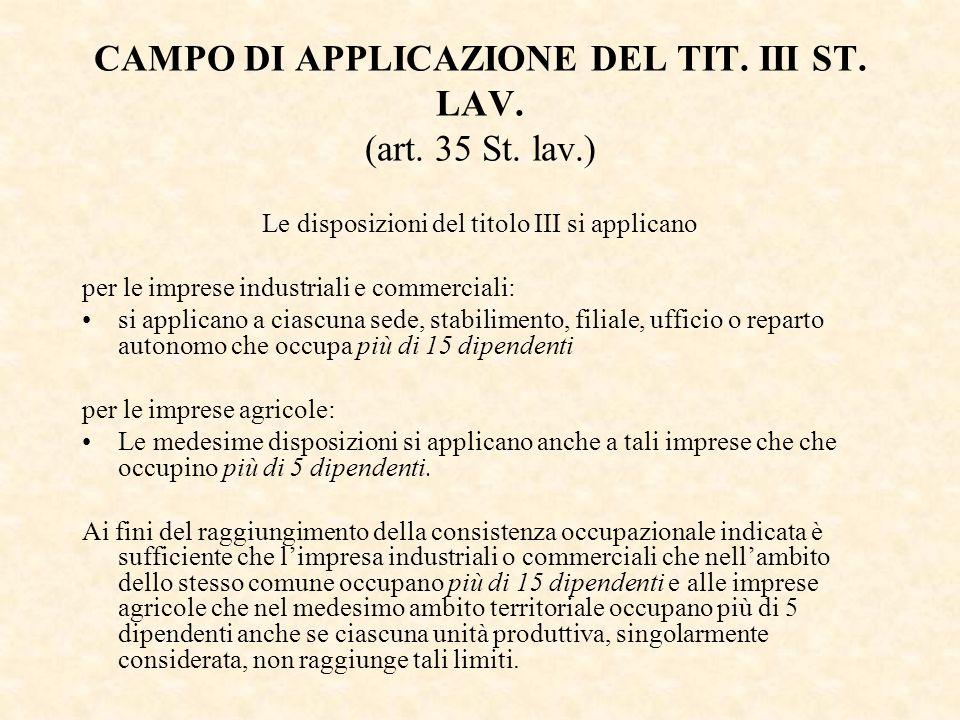 CAMPO DI APPLICAZIONE DEL TIT. III ST. LAV. (art. 35 St. lav.) Le disposizioni del titolo III si applicano per le imprese industriali e commerciali: s