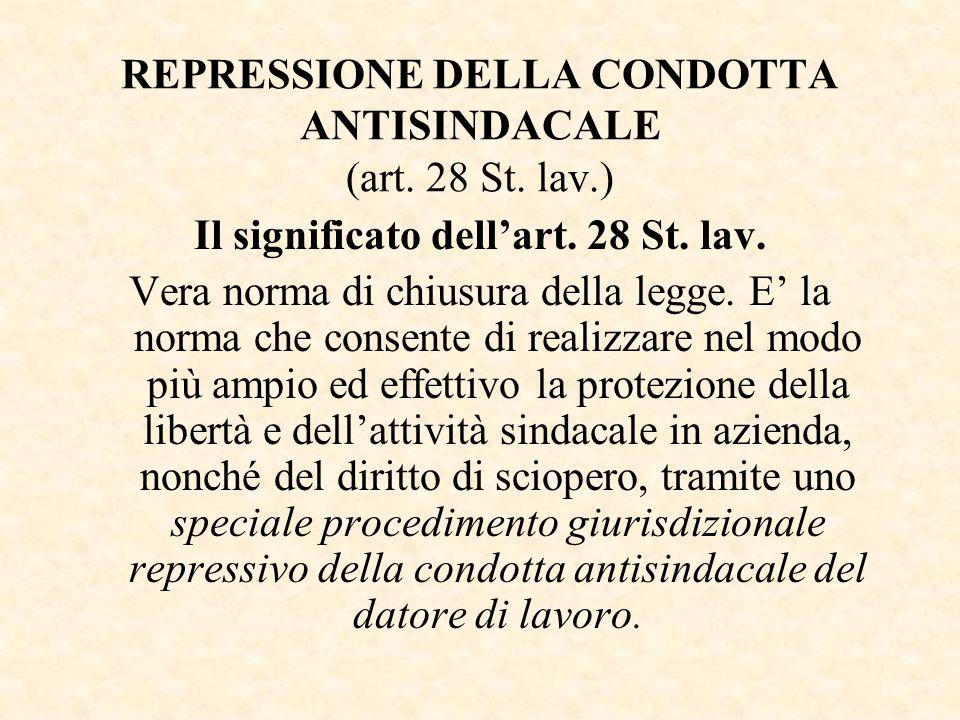 REPRESSIONE DELLA CONDOTTA ANTISINDACALE (art. 28 St. lav.) Il significato dellart. 28 St. lav. Vera norma di chiusura della legge. E la norma che con
