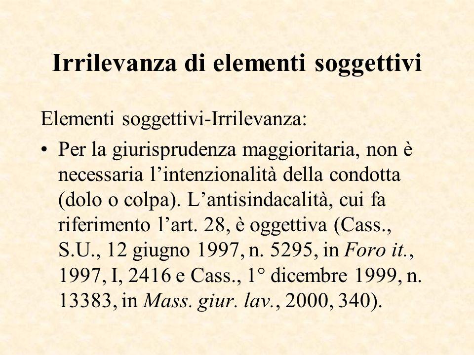 Irrilevanza di elementi soggettivi Elementi soggettivi-Irrilevanza: Per la giurisprudenza maggioritaria, non è necessaria lintenzionalità della condot