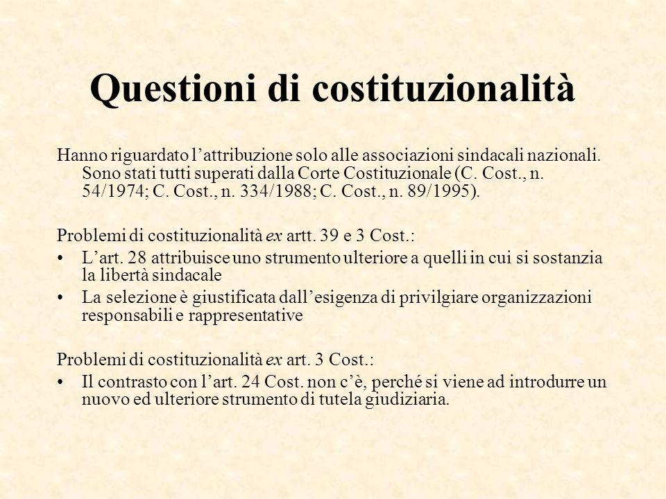 Questioni di costituzionalità Hanno riguardato lattribuzione solo alle associazioni sindacali nazionali. Sono stati tutti superati dalla Corte Costitu