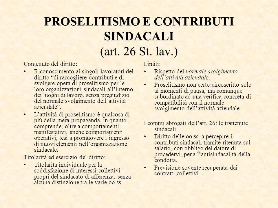 PROSELITISMO E CONTRIBUTI SINDACALI (art. 26 St. lav.) Contenuto del diritto: Riconoscimento ai singoli lavoratori del diritto di raccogliere contribu