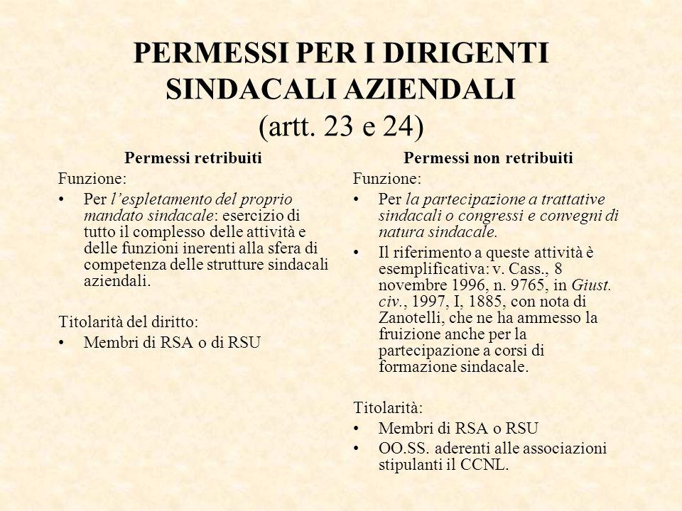 PERMESSI PER I DIRIGENTI SINDACALI AZIENDALI (artt. 23 e 24) Permessi retribuiti Funzione: Per lespletamento del proprio mandato sindacale: esercizio