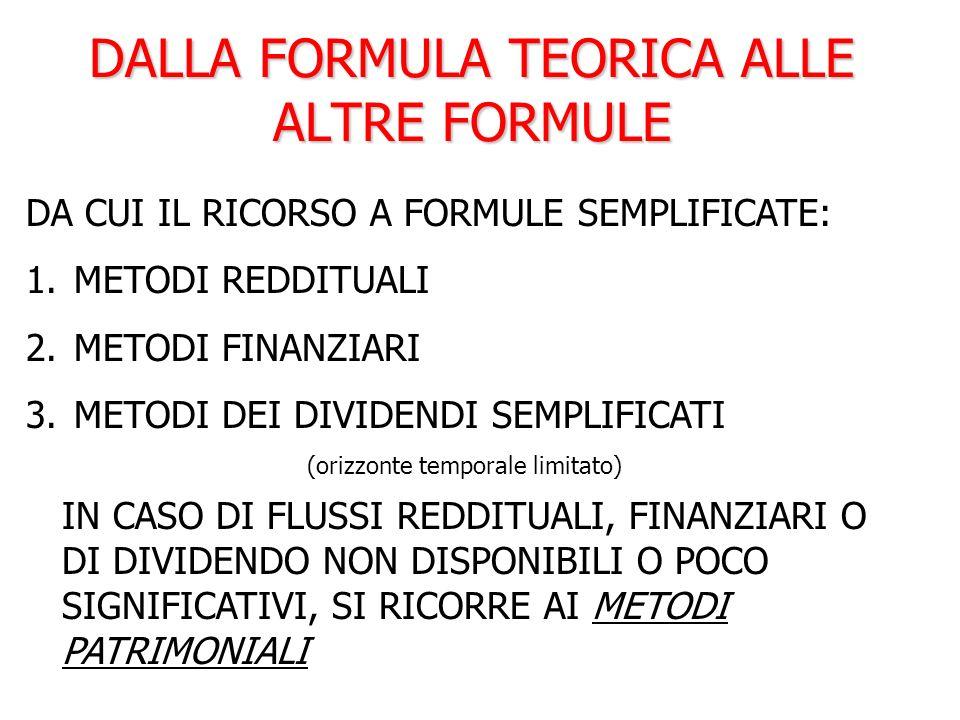 DALLA FORMULA TEORICA ALLE ALTRE FORMULE DA CUI IL RICORSO A FORMULE SEMPLIFICATE: 1. METODI REDDITUALI 2. METODI FINANZIARI 3. METODI DEI DIVIDENDI S