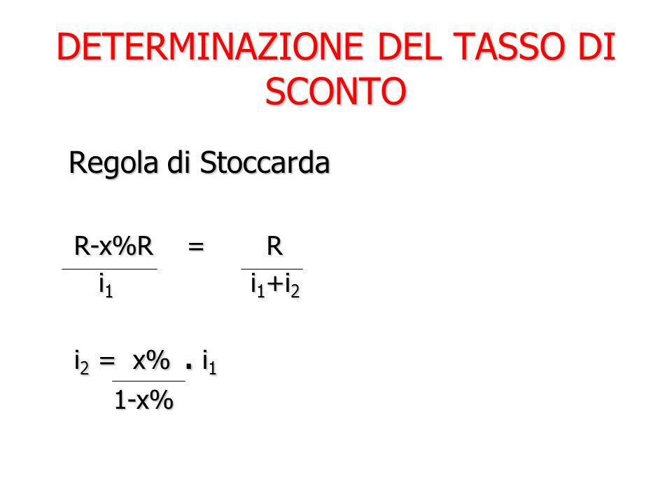 DETERMINAZIONE DEL TASSO DI SCONTO Regola di Stoccarda Regola di Stoccarda R-x%R = R i 1 i 1 +i 2 i 1 i 1 +i 2 i 2 = x%. i 1 1-x%