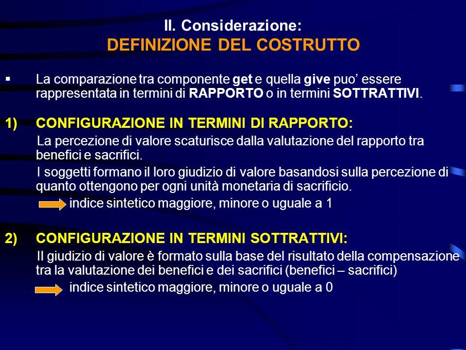 II. Considerazione: DEFINIZIONE DEL COSTRUTTO La comparazione tra componente get e quella give puo essere rappresentata in termini di RAPPORTO o in te