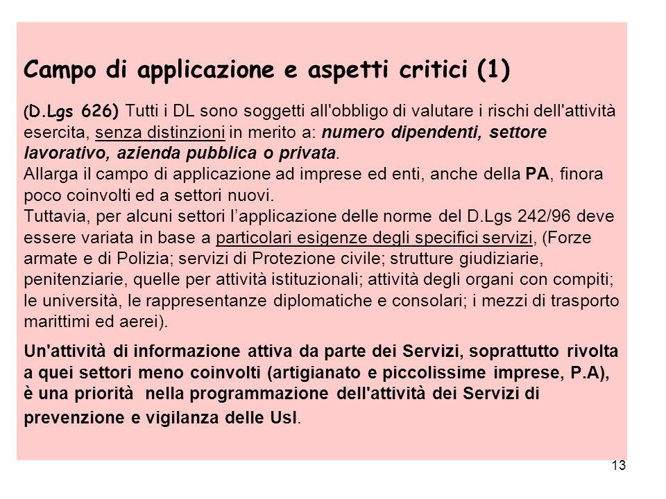 13 Campo di applicazione e aspetti critici (1) ( D.Lgs 626) Tutti i DL sono soggetti all'obbligo di valutare i rischi dell'attività esercita, senza di