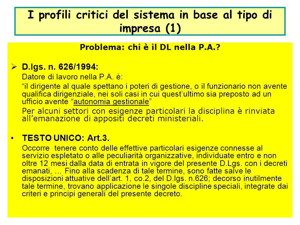 15 I profili critici del sistema in base al tipo di impresa (1) Problema: chi è il DL nella P.A.? D.lgs. n. 626/1994: Datore di lavoro nella P.A. è: i