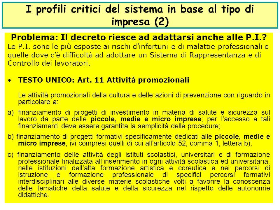 16 I profili critici del sistema in base al tipo di impresa (2) Problema: Il decreto riesce ad adattarsi anche alle P.I..