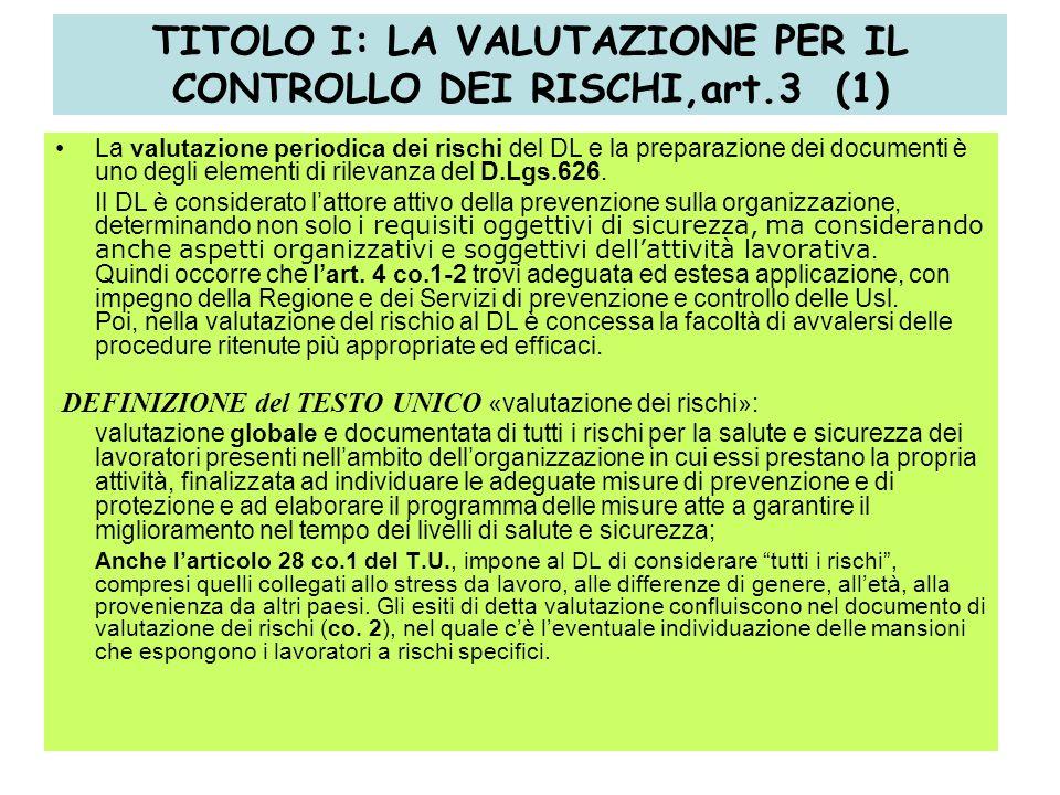 18 TITOLO I: LA VALUTAZIONE PER IL CONTROLLO DEI RISCHI,art.3 (1) La valutazione periodica dei rischi del DL e la preparazione dei documenti è uno degli elementi di rilevanza del D.Lgs.626.